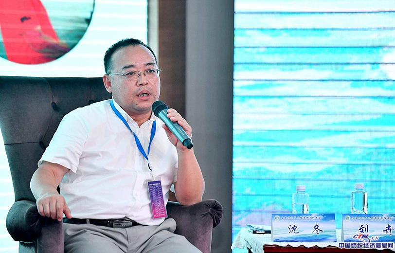 申洲针织(安徽)有限公司副总经理沈冬在主题对话交流环节